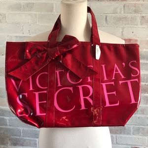 Victoria Secret Platinum Pleather Large Tote Bag